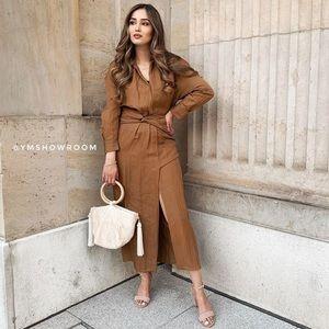 Zara   Draped Dress Caramel Size Large